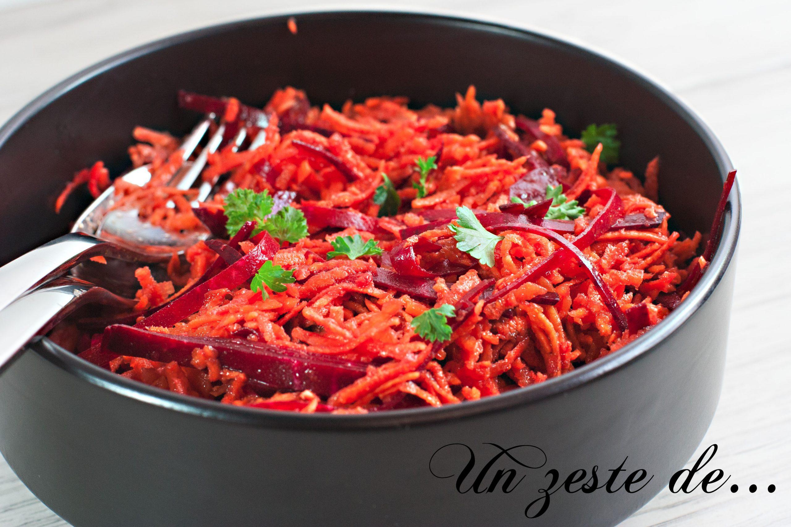 Salade betterave rouge crue et carottes
