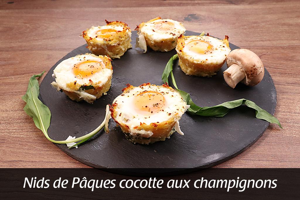 Spéciale Pâques : œuf cocotte aux champignons en nid de pomme de terre