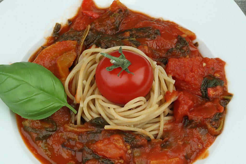 Sauce tomates poivrons épinards