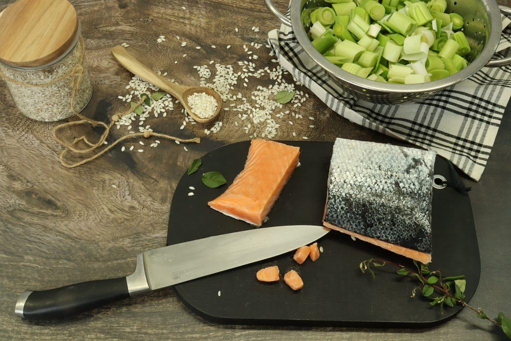 risotto poireaux saumon