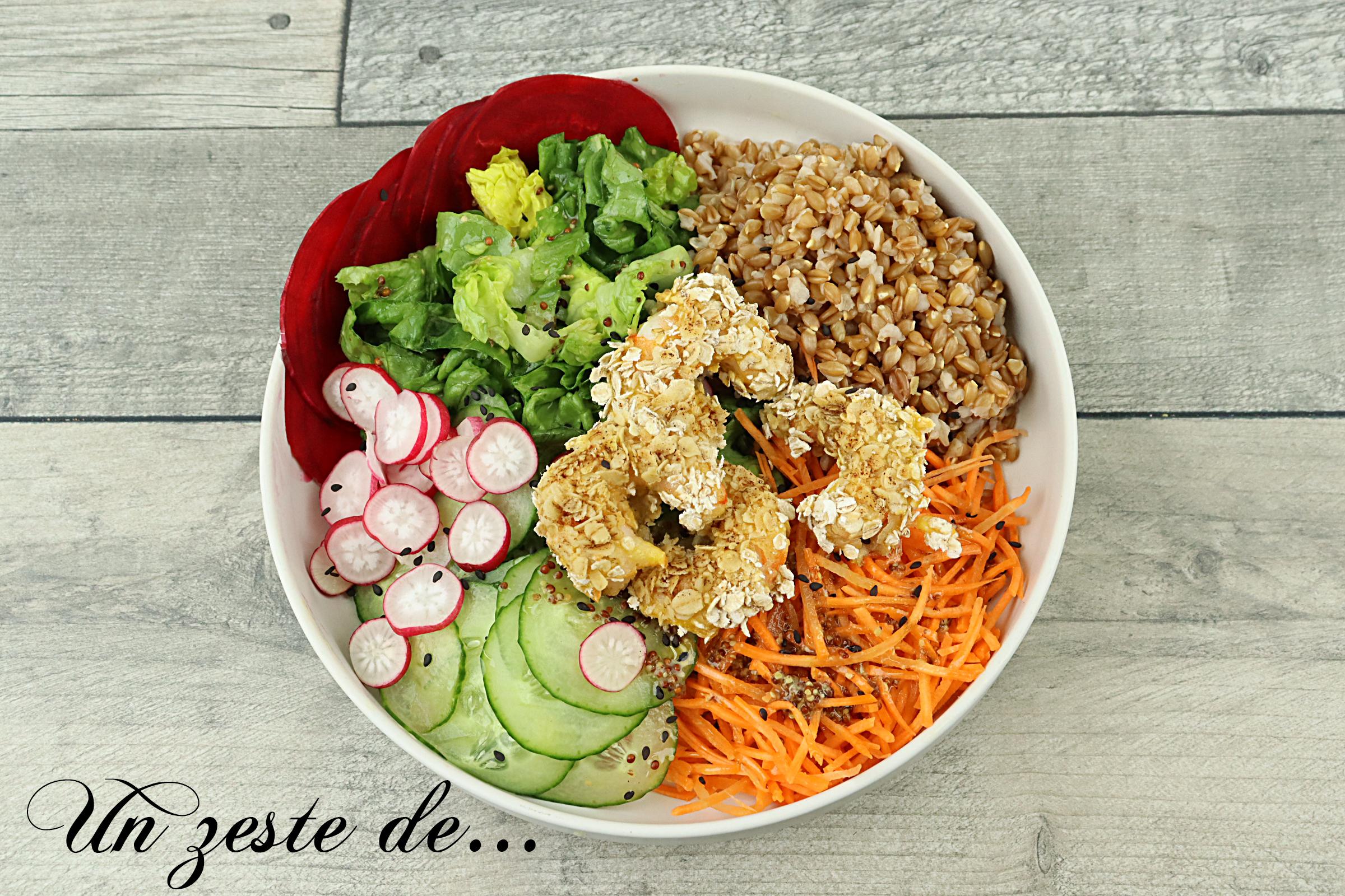 Bouddha bowl au millet et crevettes pannées à l'avoine