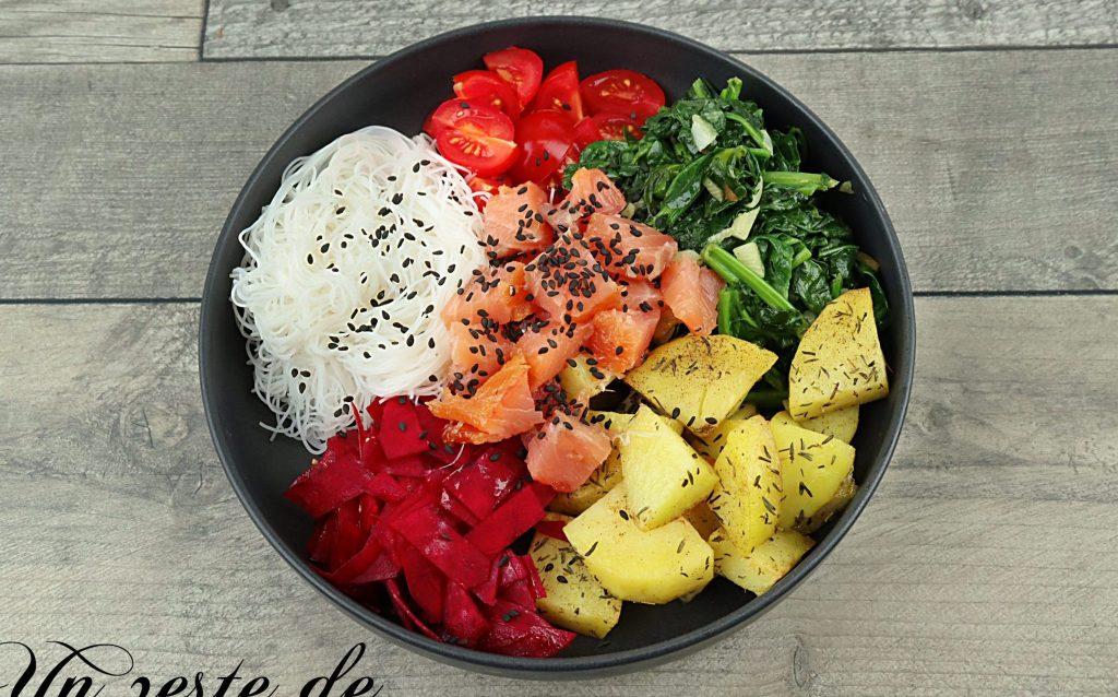 bouddha bowl epinards et saumon fumé